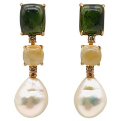 Tourmaline, Citrine, Brown Diamonds, Baroque Pearls on Gold Chandelier Earring