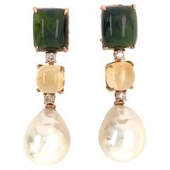 Tourmaline, Citrine, Brown Diamonds, Baroque Pearls on Gold Chandelier Earring