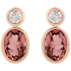 Tourmaline Diamond 18 Karat Gold Earrings