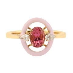 Tourmaline Diamond 18 Karat Gold Enamel Ring