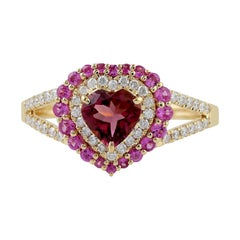 Tourmaline Diamond 18 Karat Gold Heart Ring