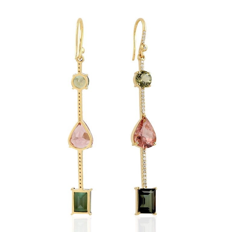 Contemporary Tourmaline Diamond 18 Karat Gold Linear Earrings For Sale