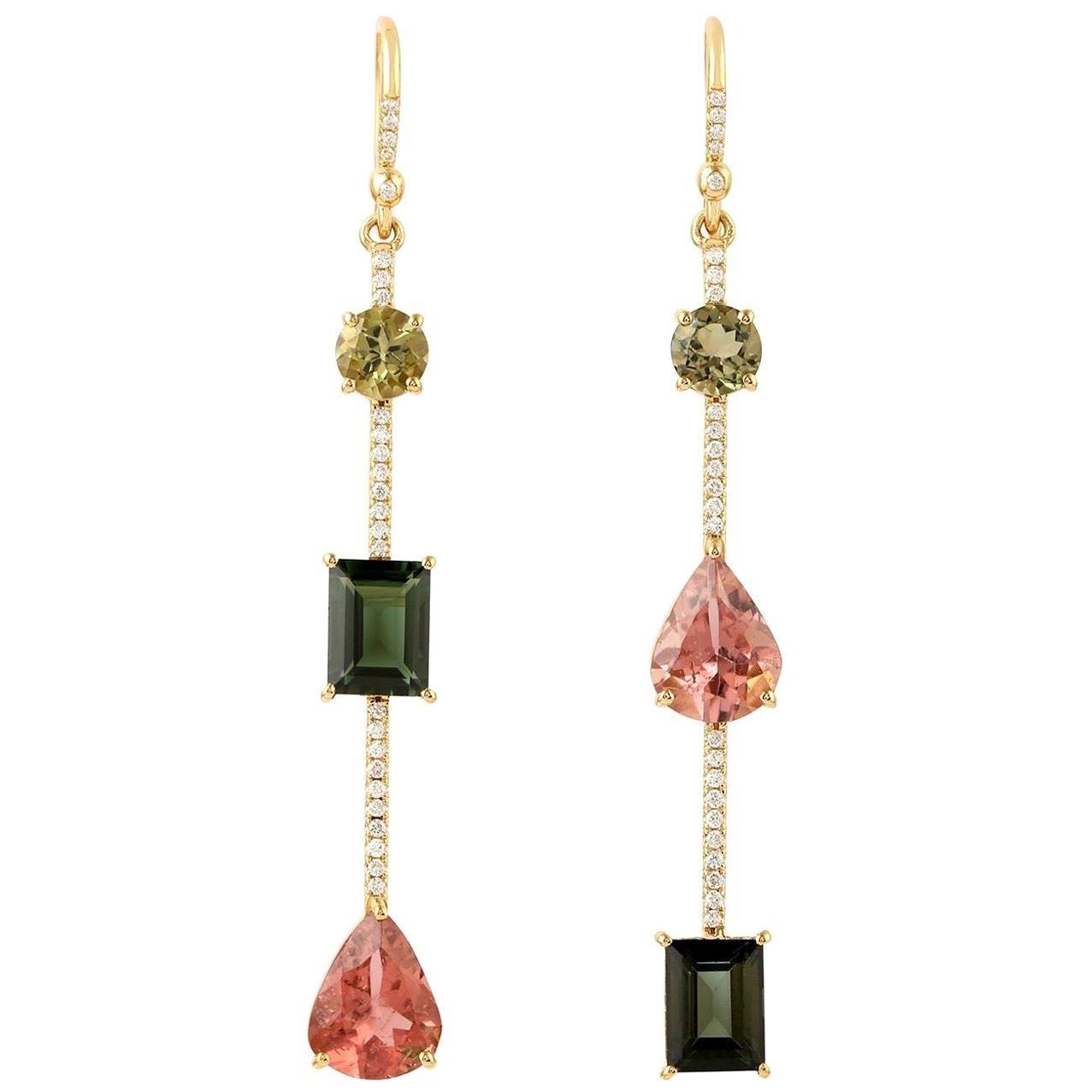 Tourmaline Diamond 18 Karat Gold Linear Earrings