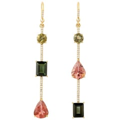 Tourmaline Diamond 18 Karat Gold Linear Earrings