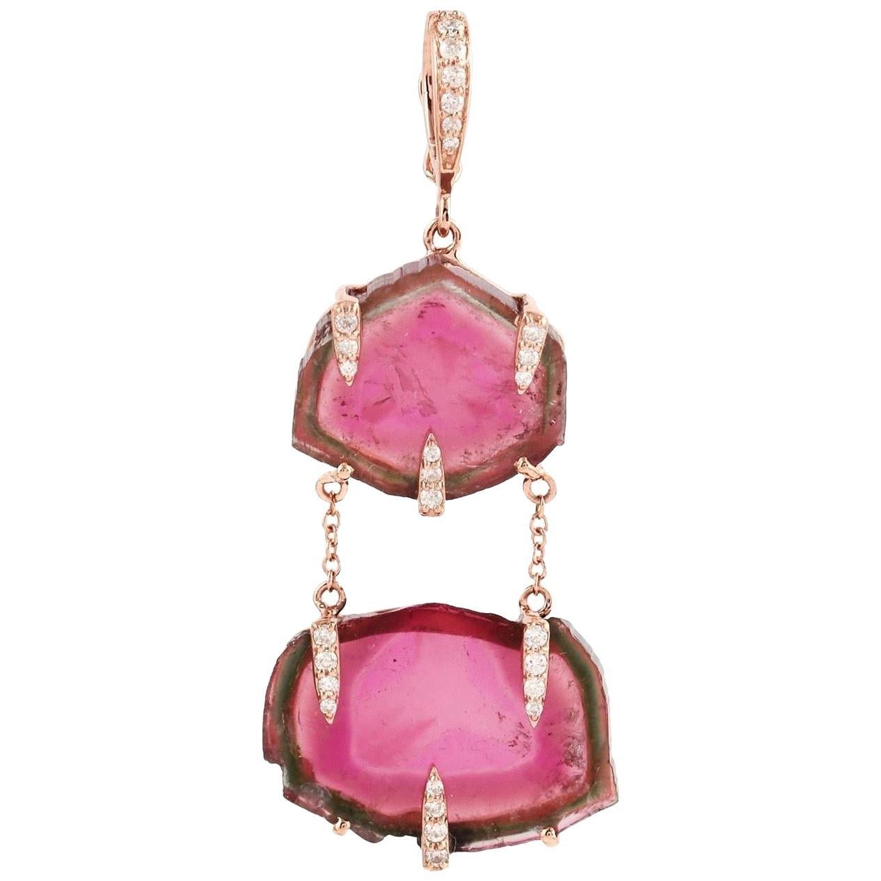 Tourmaline Diamond 18 Karat Gold Pendant Necklace
