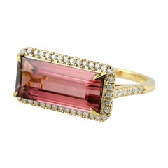 Tourmaline Diamond 18 Karat Gold Ring