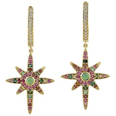 Tourmaline Diamond 18 Karat Gold Star Earrings
