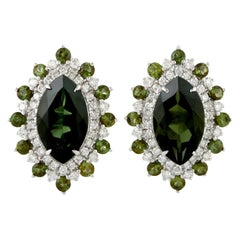 Tourmaline Diamond 18 Karat Gold Stud Earrings