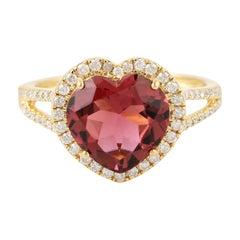 Tourmaline Diamond 18 Karat Heart Gold Ring