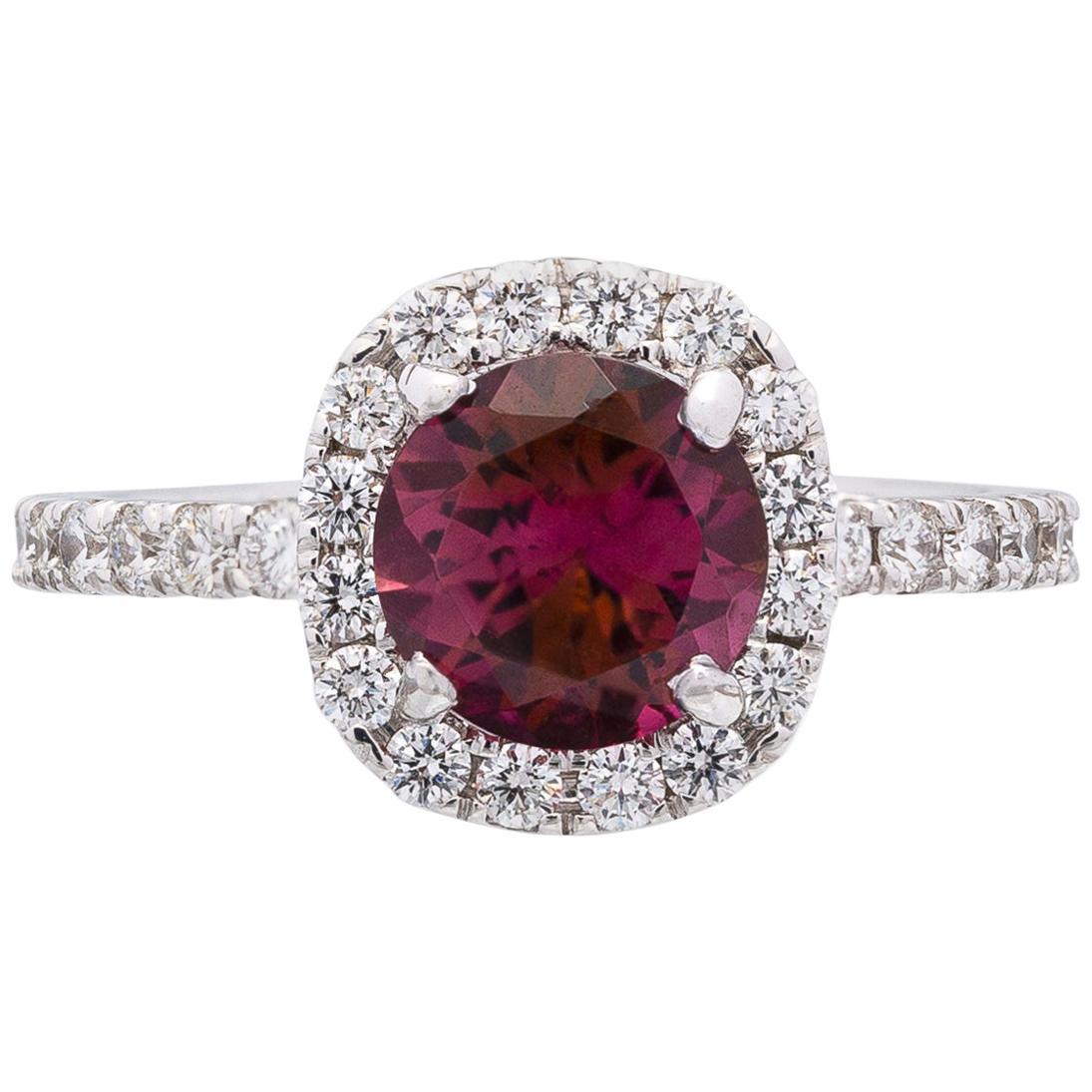 Tourmaline, Diamond and 14 Karat White Gold Ring