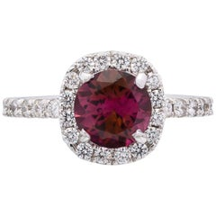 Tourmaline, Diamond and 14 Karat White Gold Ring