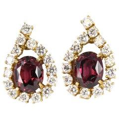 Tourmaline Diamond Earrings Set in 18 Karat Yellow Gold