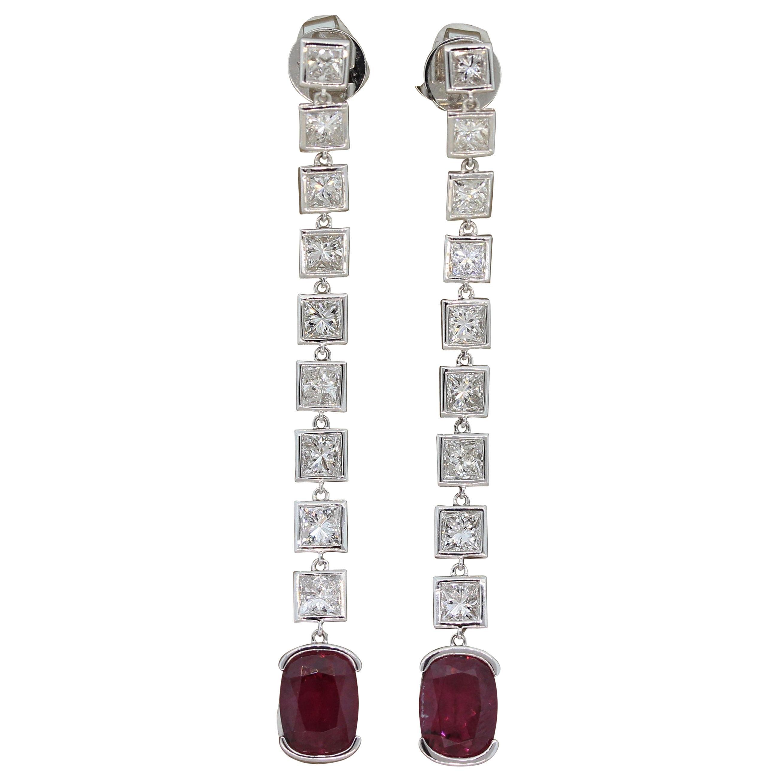 Tourmaline Diamond Gold Drop Earrings