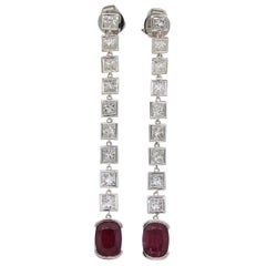 Tourmaline Diamond Gold Drop Earrings