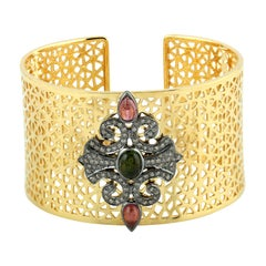 Tourmaline Diamond Jali Statement Cuff