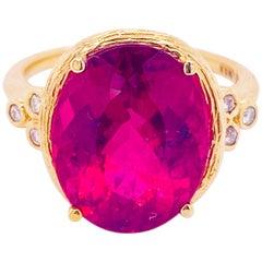 Tourmaline Diamond Ring, 14 Karat Yellow Gold, Pink, Rubellite, Statement