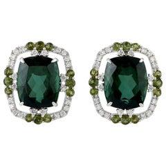 Tourmaline Diamond Stud 18 Karat Gold Earrings