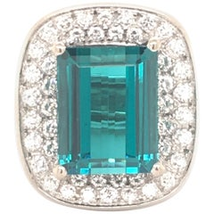 Tourmaline Diamond White Gold Cocktail Ring
