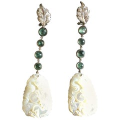 Tourmaline Diamonds 18 Karat White Gold White Dragon Earrings