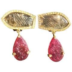 Tourmaline Diamonds Carved Tourmaline Fish Shape 18 Karat Gold Earrings