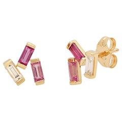 Tourmaline, Diamonds Cluster Earrings, 14 Karat Gold, Ben Dannie