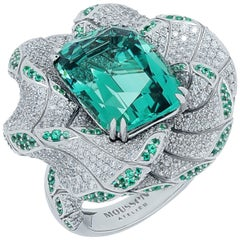 Tourmaline Diamonds Emeralds 18 Karat White Gold DNA Ring