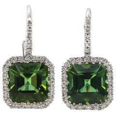 Tourmaline Earrings 12.6 Carat with Diamonds 0.60 Carat 18 Karat Gold