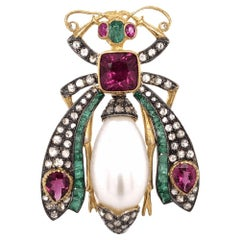 Tourmaline Emerald and Diamond Gold Beetle Scarab Brooch Pin Fine Estate Jewelry