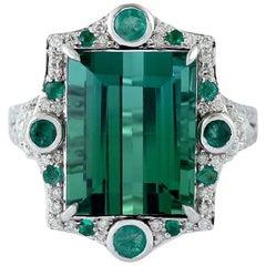 Tourmaline Emerald Diamond 18 Karat Gold Ring
