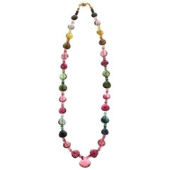 Tourmaline Faceted Drops with Beads Necklace, Yellow Gold-Plated Clasp