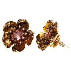 Tourmaline Flower Earrings Silver with 24 Karat Gold Vermeil, Diamonds and Gems