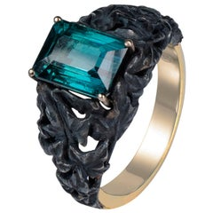 Tourmaline Ivy Gold Silver Ring Indicolite Gemstone Art Nouveau Jewelry Unisex
