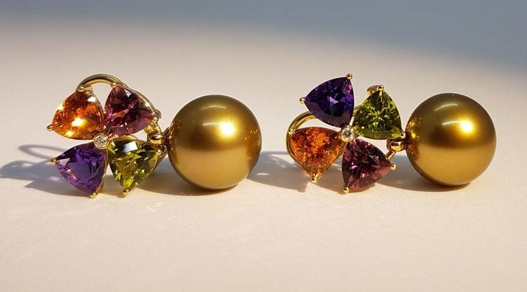 Modern Tourmaline Mandarin Garnet Peridot Amethyst Diamond Golden Tahiti Pearl Earrings For Sale