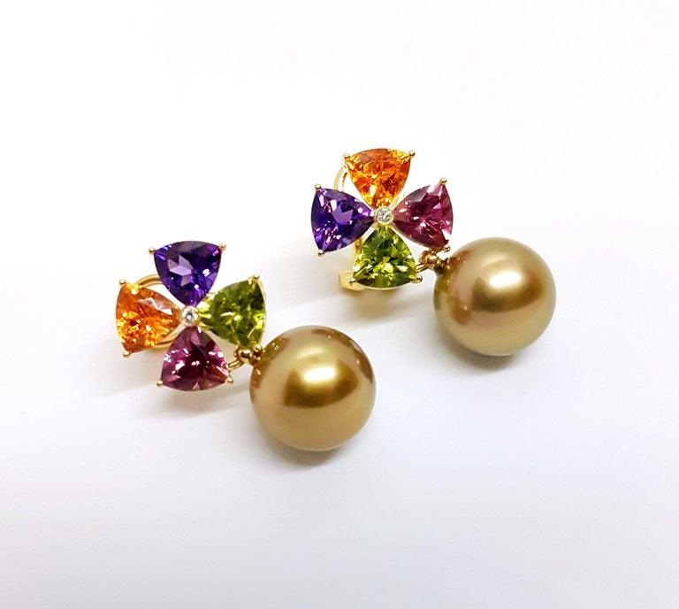 Tourmaline Mandarin Garnet Peridot Amethyst Diamond Golden Tahiti Pearl Earrings In New Condition For Sale In Berlin, DE