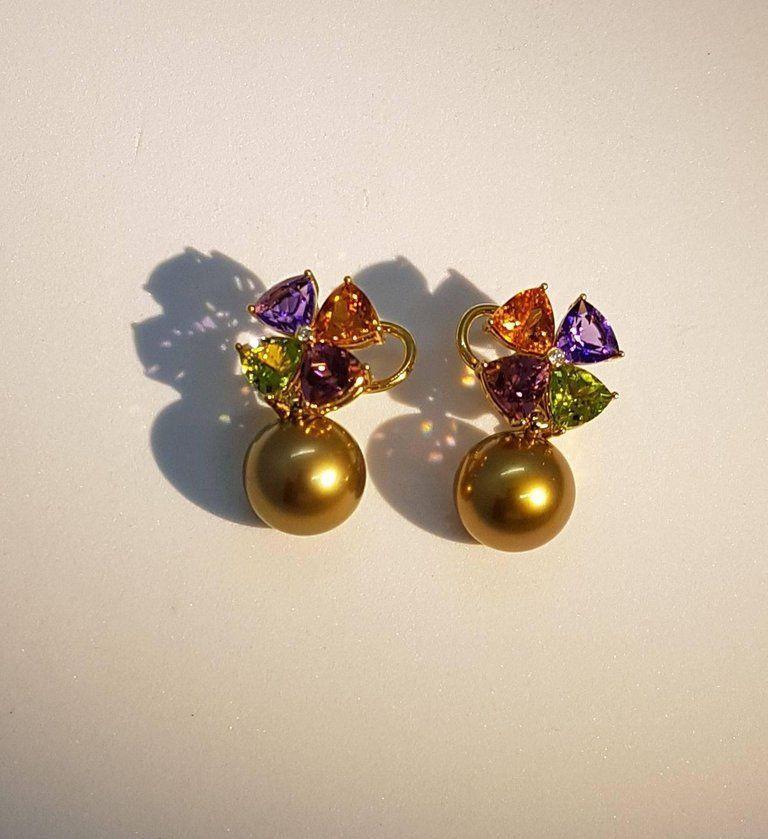 Women's Tourmaline Mandarin Garnet Peridot Amethyst Diamond Golden Tahiti Pearl Earrings For Sale