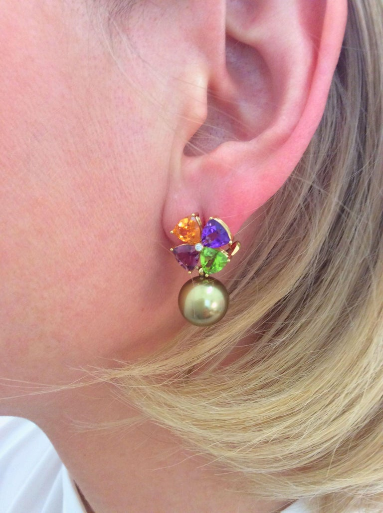 Tourmaline Mandarin Garnet Peridot Amethyst Diamond Golden Tahiti Pearl Earrings For Sale 2