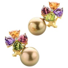 Tourmaline Mandarin Garnet Peridot Amethyst Diamond Golden Tahiti Pearl Earrings