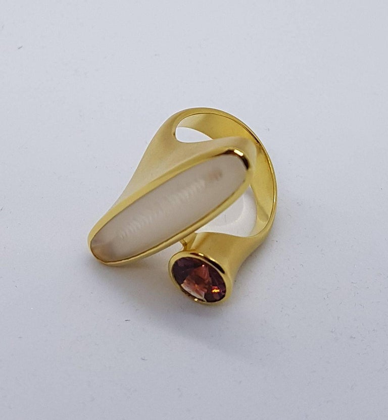 Modern Tourmaline Moonstone Gold Ring Atelier Munsteiner For Sale