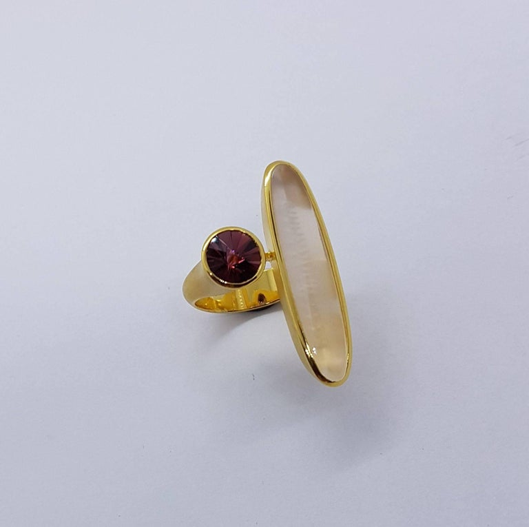 Tourmaline Moonstone Gold Ring Atelier Munsteiner In As New Condition For Sale In Berlin, DE
