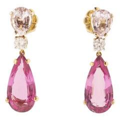 Tourmaline Morganite Diamond and Gold Earrings