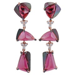 Tourmaline, Mother of Pearl and Diamond Earrings Studded in 18 Karat Rose Gold