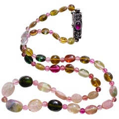 Tourmaline Bead Necklace Antique English