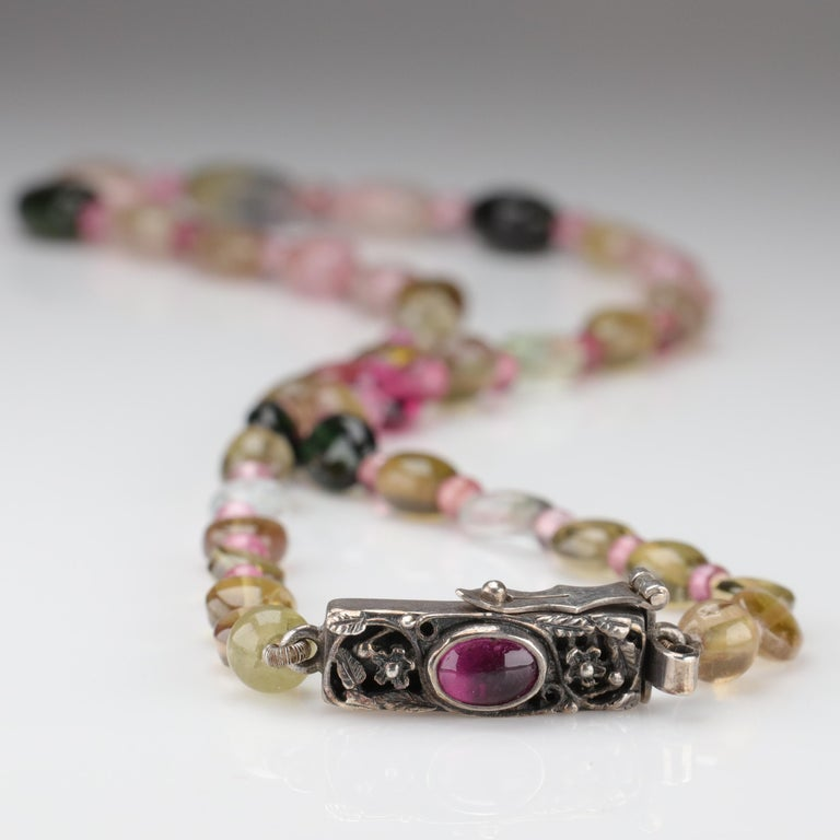 Arts and Crafts Tourmaline Necklace Multi-Color Beads English Arts & Crafts For Sale