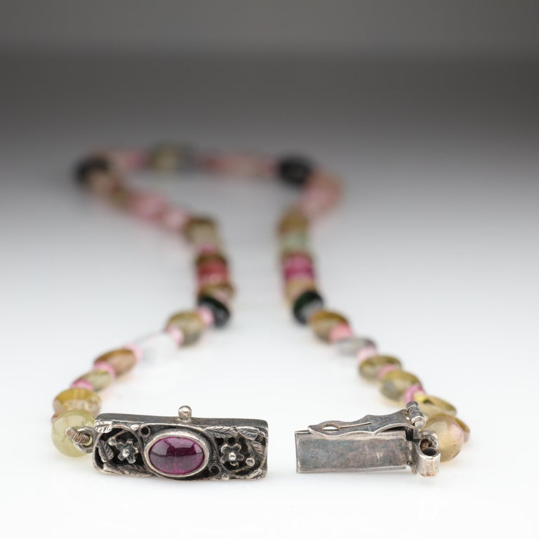 Women's or Men's Tourmaline Necklace Multi-Color Beads English Arts & Crafts For Sale