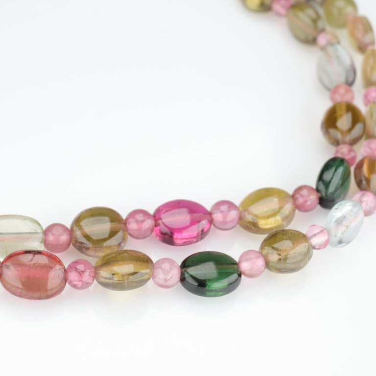 Tourmaline Necklace Multi-Color Beads English Arts & Crafts For Sale 1