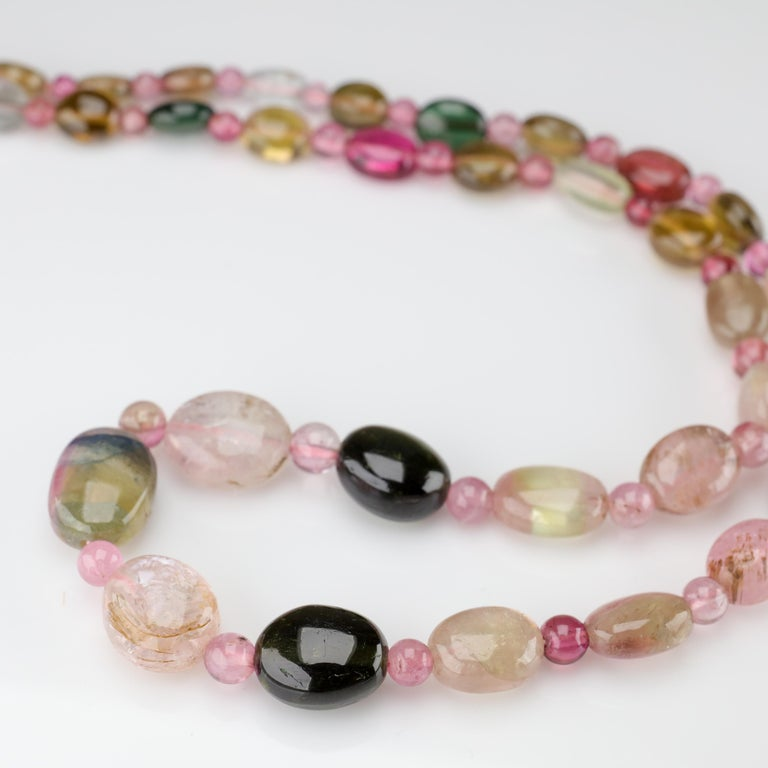 Tourmaline Necklace Multi-Color Beads English Arts & Crafts For Sale 3