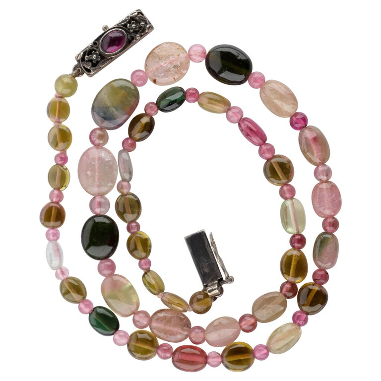 Tourmaline Necklace Multi-Color Beads English Arts & Crafts For Sale