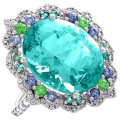 Tourmaline Neon Blue/Green Platinum Ring Diamond Garnet Spinel