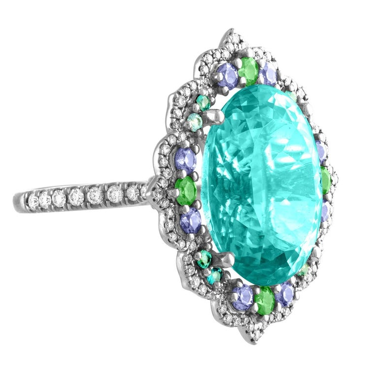 Tourmaline Neon Blue Green Platinum Ring Diamond Garnet