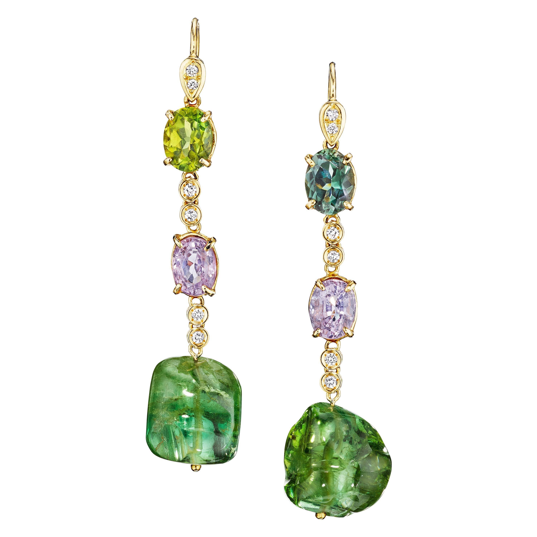 18 Karat Yellow Gold Tourmaline Nuggets Spinel Diamond Drop Dangle Earrings